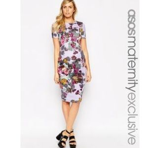 ASOS Design Maternity Wiggle Midi Dress Floral NWT